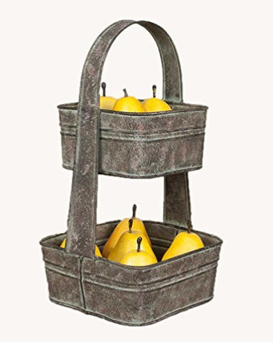 Two Tier Square Tote Fruit Bowl by CTW Home Collection