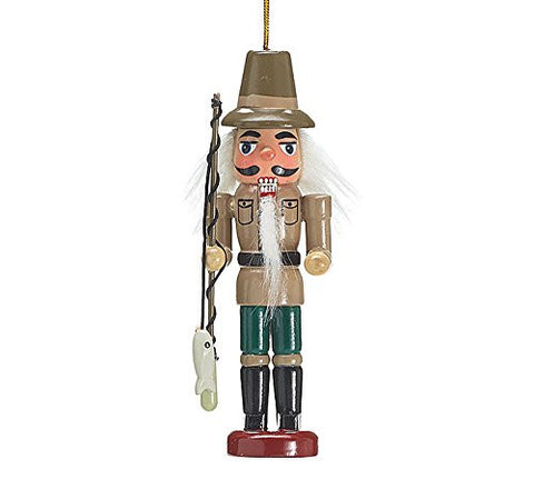 Fisherman Wood Nutcracker Christmas Tree Ornament