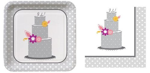 I Do - Wedding Cake - Banquet Plates - Bachelorette - Party Pack - 8 Plates