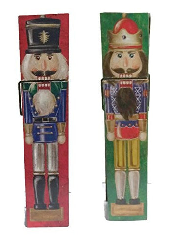 "12"" Jumbo Clothespin - Decorated With Nutcrackers - Christmas Photo or Card Holder"