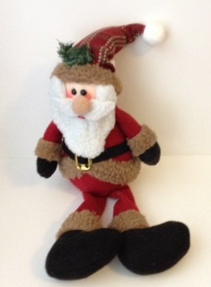 Santa Claus Rustic Shelf Sitter with Plaid Hat