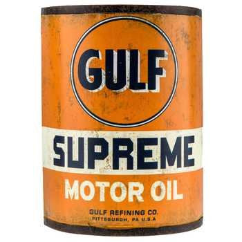 Genuine Vintage Style GULF Metal Motor Oil Can Wall Art Sign