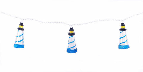 Set of 10 Coastal Lighthouse Indoor/Outdoor Party String Lights