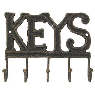 Cast Iron Key Rack Holder Wall Decoration with 5-hooks - KEYS