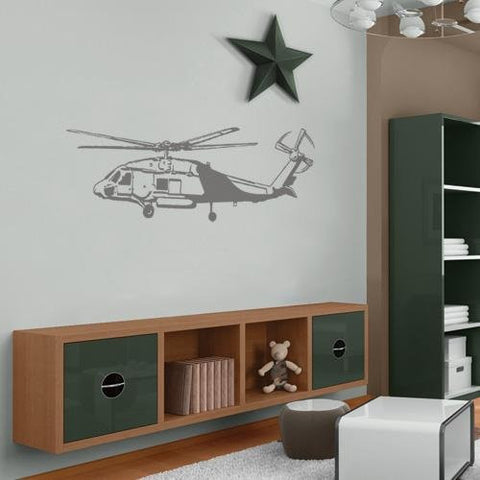 HELICOPTER Vinyl JUMBO Wall APPLIQUE decor sticker (60x19.5)