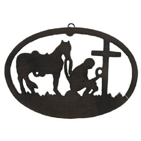 Cast Iron Kneeling Cowboy Wall Plaque