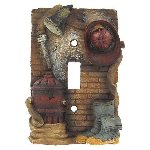 Fireman Single Light Switch Plate Cover with Hydrant Helmet Boots and Hose