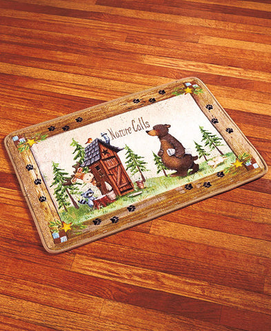 "Nature Calls Rug - 30""W x 20""L - Fun Lodge Decor - Polyester with Nonslip Rubber Back"