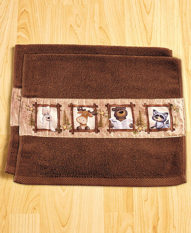 "Nature Calls Set of 2 Hand Towels - 15"" x 25"", each - Fun Lodge Decor - Cotton"