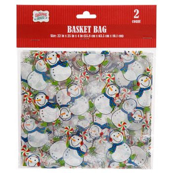 Christmas Cellophane Basket Bags 2 Count Varied Designs