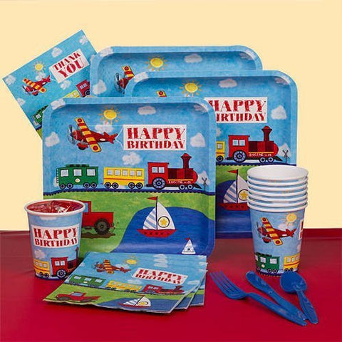 On the Go Basic Party Pack - Cars, Planes, Trains & Boats Birthday