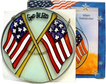 God Bless America Chained Glass Sun Catcher