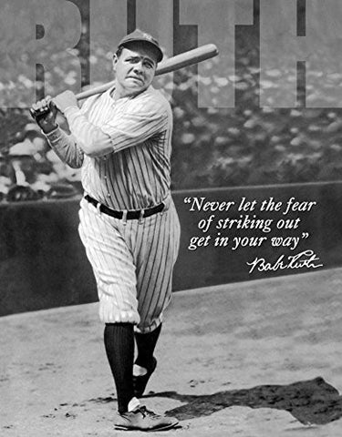 Babe Ruth - No Fear Tin Sign 12 x 16in