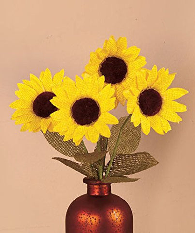 Sets of 4 Country Sunflower Stems Yellow