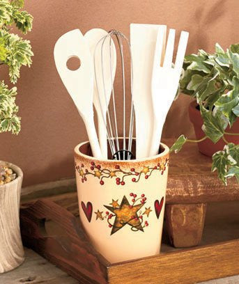 Country Hearts and Stars 6-Pc. Utensil Crock Set