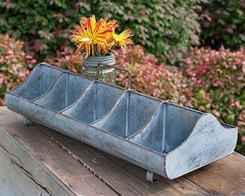 Classic Galvanized Reproduction Feed Trough Caddy with Handle 10 Compartments by Colonial Tin Works