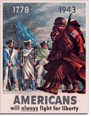 Americans Fight for Liberty Patriotic WWII Military Sign 16 x 12.5