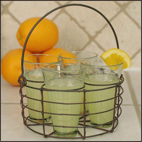Round Wire Caddy with Four Glasses with Green/Rust Finish