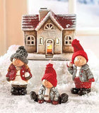 Children with Snowballs and Lighted Christmas House 4 Piece Set Terra Cotta