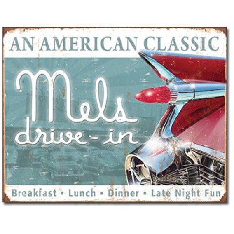 Mels Diner Classic Tin Sign 16 x 12in- Made In The USA