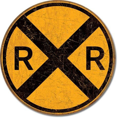 "Vintage Style Railroad Crossing 12"" Round Metal Sign- Made In The USA"