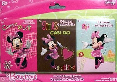 Disney Minnie Mouse Bow-tique 3 Pack 8 Count Crayons Varied Images