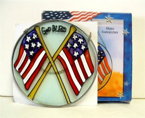 """GOD BLESS"" Glass Suncatcher with the American Flag"