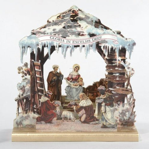 "Kurt Adler Wooden Nativity with Music Table Piece - Tune: ""Silent Night"""