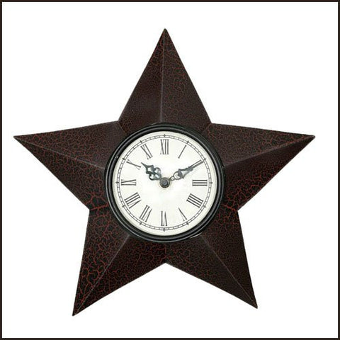 Country Star Wall Clock~black and Red Crackle