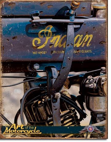 "Indian 1914 - Jacobs Motorcycles Tin Sign 12.5""Wx16""H- Made In The USA"