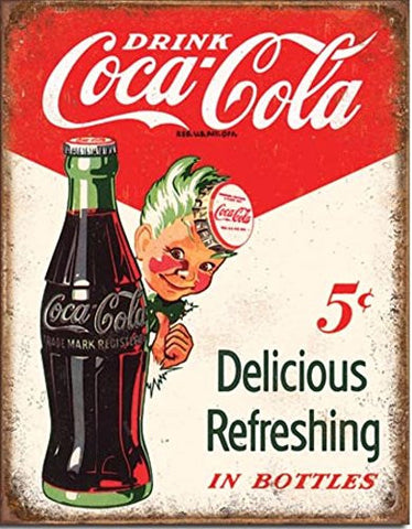 Coca Cola Coke 5 Cents Bottles Sprite Boy Metal Sign