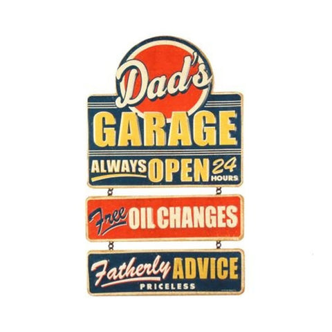 Dad's Garage Embossed Link Hanging Tin Sign - Great Gift For Dad