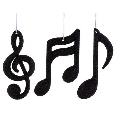 Music Notes & Treble Clef Ornaments Set 3 - Black or Gold