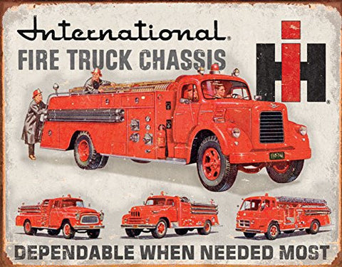 International Fire Truck Chassis Tin Sign 16 x 12in