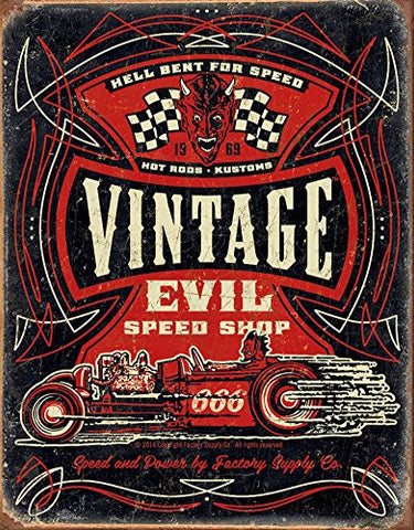 Vintage Evil - Hell Bent Rods Tin Sign 13 x 16in