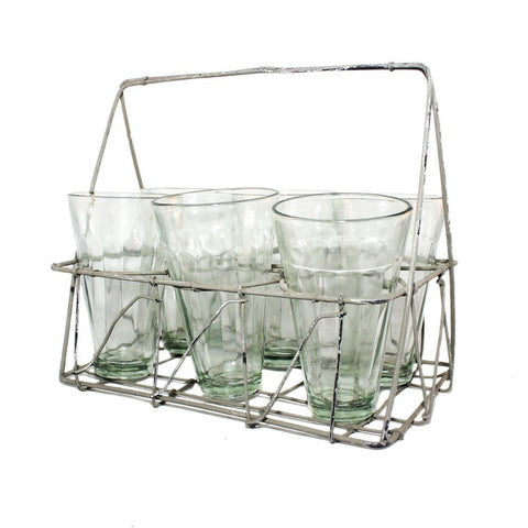 Rectangular Galvanized Wire Caddy with Six Glasses