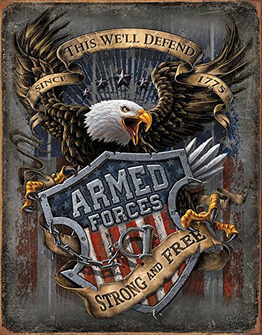Armed Forces - since 1775 Tin Sign 13 x 16in