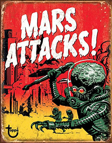 Mars Attacks Tin Sign 13 x 16in- Made In The USA