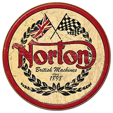 Norton - Logo Round Tin Sign 12 x 12in- Made In The USA