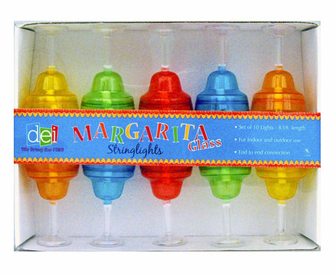 Set of 10 Margarita Glass Indoor/Outdoor Party String Lights