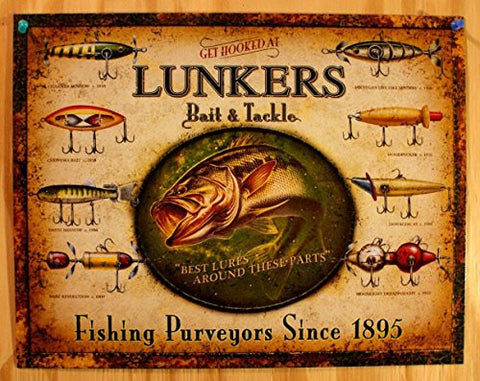 Lunker's Lures Bait and Tackle Distressed Retro Vintage Tin Sign- Made In The USA
