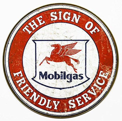 Mobilgas Sign of Friendly Service Garage Tin Sign 11.75 in.- Made In The USA