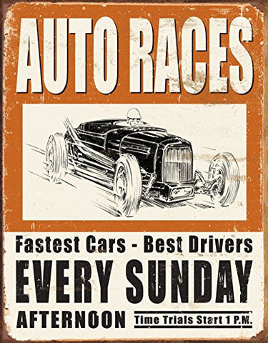 Vintage Auto Races Tin Sign 12 x 16in