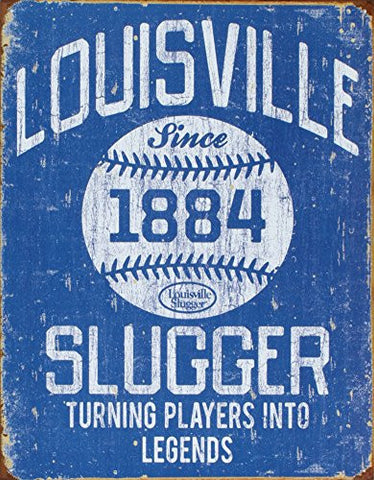 Louisville Slugger - Blue Tin Sign 13 x 16in- Made In The USA
