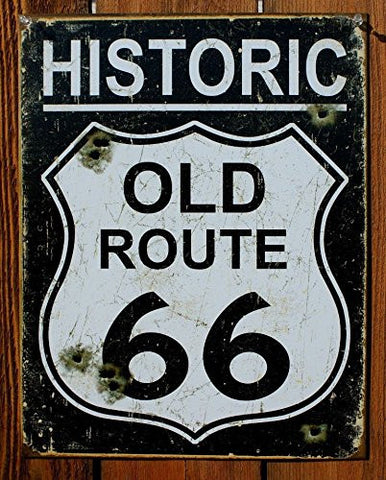Old Route 66 - Weathered Tin Sign 13 x 16in- Made In The USA