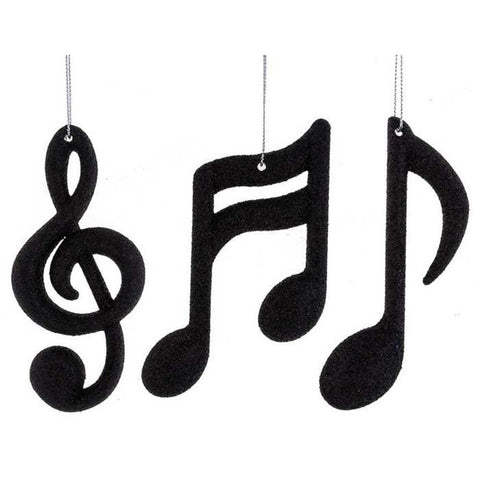 Black Music Notes & Treble Clef Ornaments Set 3