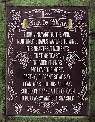 Ode to Wine Tin Sign 13 x 16in- Made In The USA