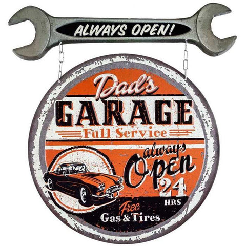 Large Vintage Style Dad's Full Service Garage Always Open Metal Tin Wall Sign