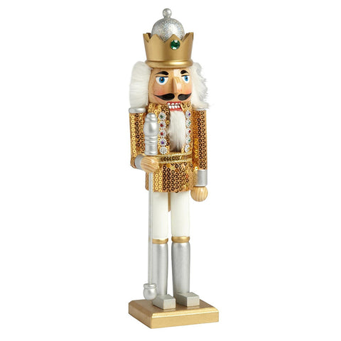 "Nantucket Home Wooden 15"" Gold Sequined Soldier with Crown Christmas Nutcracker Decor"
