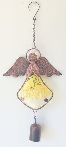 Angel Glass Wind Chimes - Peace, Hope or Love (Yellow - Hope)